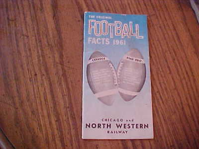 1961 Football Facts Guide College & Pro Chicago and North Western Railway 48page