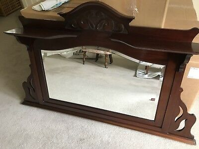 Antique Edwardian Original Mahogany Overmantel Mirror