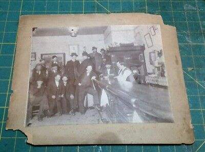 Antique Cabinet Photo, Old Saloon Photo w/ Many Inebriates w/Hats & Pipes c1905