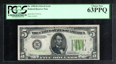 $5 1934 Federal Reserve Note (B) New York Light Green Seal PCGS Choice New 63PPQ