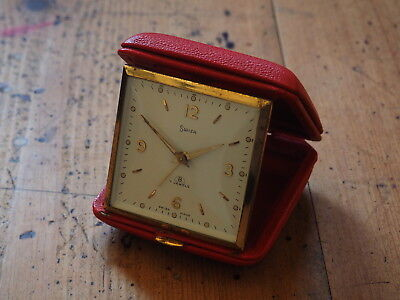 Vintage Swiza 8 Day Travel Alarm Clock *swiss Made* - Red Leather Case - Working