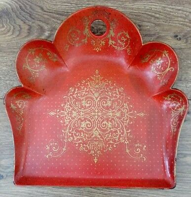 Antique Victorian Lacquered Red & Gold Crum Tray,stunning Detail.