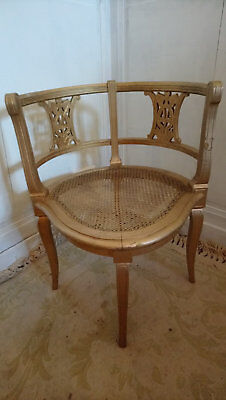 French antique gilt painted cane bergere corner chair