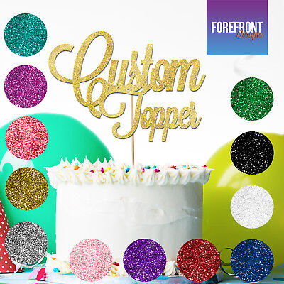 PERSONALISED 50th Anniversary Glitter Cake Topper ANY WORD//AGE Birthday//wedding