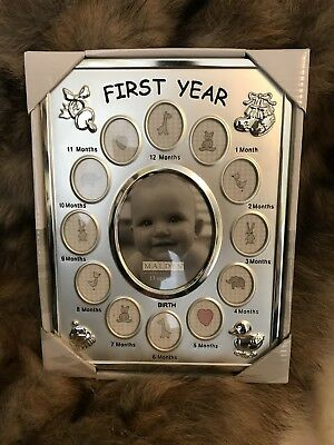 My first year photo frame boy or girl silver finish 9x11