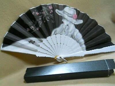 Vintage Plastic & Fabric Cloth Hand Held Fan with Lady / Signed Mia