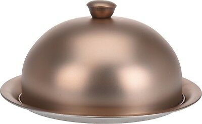 Stainless Steel MATT GOLD Cloche Plate Platter with Domed Cover Serving Dish