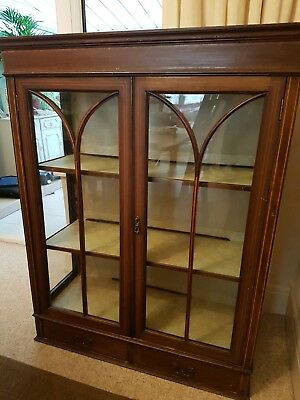 Antique cabinet, vintage glass fronted.Lockable, complete with key.