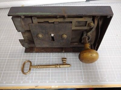 Antique Heavy Door Lock: Cast Iron, Brass, Working Skeleton Key and Knob