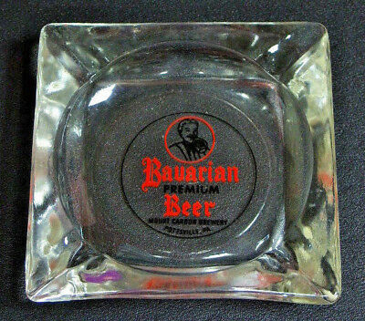 Small BAVARIAN PREMIUM BEER Glass Ash Tray ~ Mount Carbon Brewery,Pottsville,PA