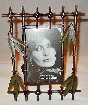 Heavy Metal Picture Frame - Antique Bronze & Green Leaves - 4x6 Photo- Table Top