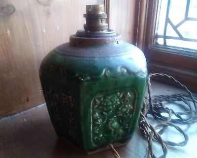 Antique  Chinese Shiwan  Pottery  Ginger Jar  Green Glaze 19Th Century? Modified