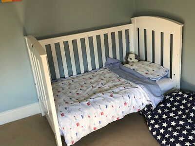 Boori Country Collection Cot Bed in White with Boori Mattress and Toddler Rail
