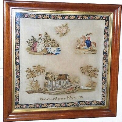 Large Early Victorian Pictorial Sampler, Dated 1851, in Original Rosewood Frame