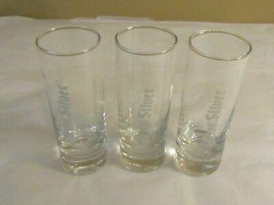 """Jose Cuervo Sliver Shot Glasses Lot of 3 Clear w/Silver Lettering 4"""" Tall"""