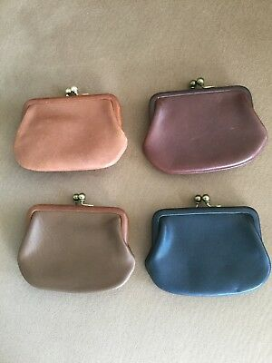 "4 Vintage Coach Double Kisslock 5"" Coin Purses"