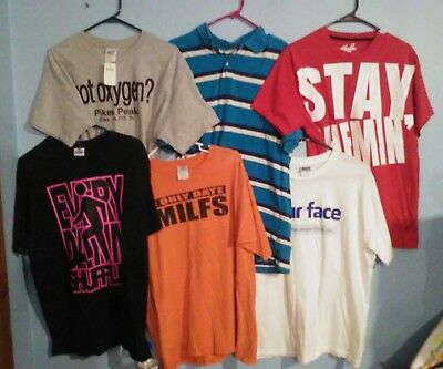 MENS: SZ L: T-SHIRT: LOT OF 6: (1 is a polo): graphic Tees MILF, FB DISLIKE, etc