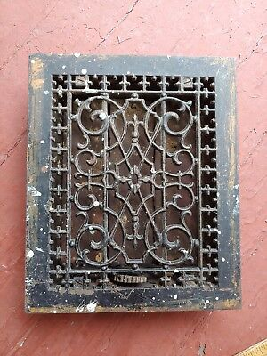 1886 Antique Victorian Tuttle Bailey NY Cast Iron Floor Register Grate Vent 8x10