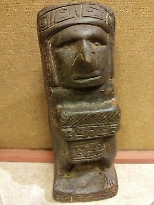 Effigy Pre-Columbian style stone Mayan Aztec hand carved statue