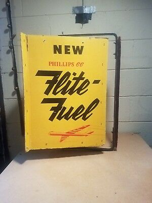 Rare 1953 Spinner Advertising Sign ~ Phillips 66 Flite Fuel ~ Awesome Graphics