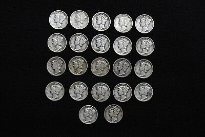 90% Mercury Dimes Lot of 22 - Good Condition - 1940's , 1938 , 1939 and 1928