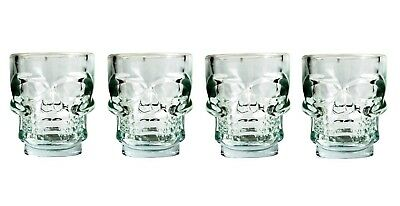 Set of 4 Heavy Thick Glass Skull Shot Glasses Halloween Party