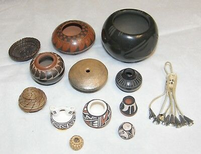 Group of 13 Miniature NATIVE AMERICAN INDIAN POTTERY & Horsehair Baskets