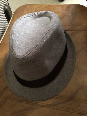 Itzu Men/'s Classic Textured Trilby Fedora Hat Cap Matching Band Brown Charcoal