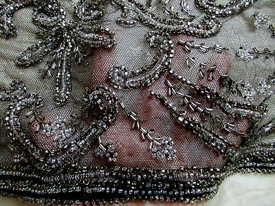 ORNATE ANTIQUE Art Deco FLAPPER BEADED LACE TULLE DRESS PANEL FABRIC TRIM HEAVY