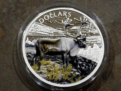 """2014 Proof Canadian $20 Fine Silver Coin Colorized """"Caribou"""" 99.99% Fine Silver"""