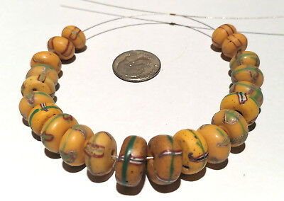 21 Antique Venetian Fancy Yellow Rondelle Shape African Glass Trade Beads