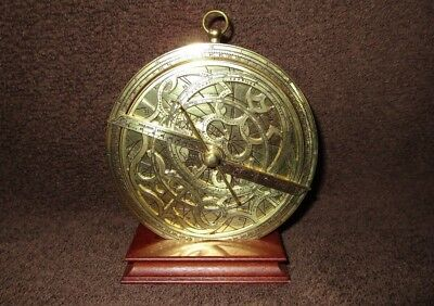 Franklin Mint Astronomical Astrolabe, Solid Brass 1987 Historical Reproduction