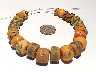24 Antique Venetian Fancy Yellow African Glass Trade Beads