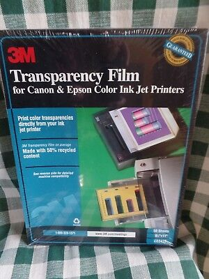 "3M Transparency Film For Laser Printers  8.5""x11"" 50 Sheets CG3410 NOS SEALED"