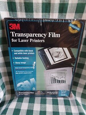 """3M Transparency Film For Laser Printers  8.5""""x11"""" 50 Sheets CG3300 NOS SEALED"""