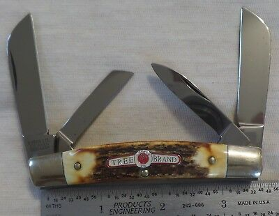 H. Boker Co. Stag  3 & 5/8 Inch Congress Tree Brand  Shield knife, Germany