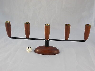 60s Candle Holder for 5 Candles Scandinavian Design Wood and Metal