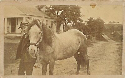 """c1900 Mounted Photo of Man and Horse, Sepia 8 & 1/2"""" by 5 & 1/4"""" Cabinet Card"""