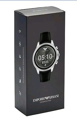 New Emporio Armani Connected Black Leather Touchscreen Smart Watch ART5003 $345