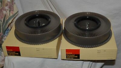 2 KODAK CAROUSEL TRANSVUE 80 SLIDE PROJECTOR TRAYS IN BOX - New Condition