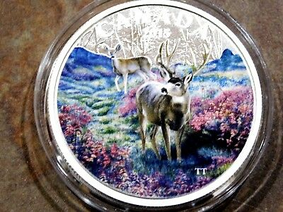 """2015 Proof Canadian $20 Fine Silver Coin Colorized """"Misty Morning  Mule Deer"""""""