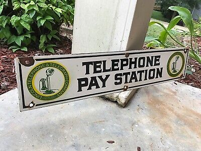 """VINTAGE """"LINCOLN TELEPHONE & TELEGRAPH PAY STATION"""" HEAVY PORCELAIN SIGN 24""""x 5"""""""
