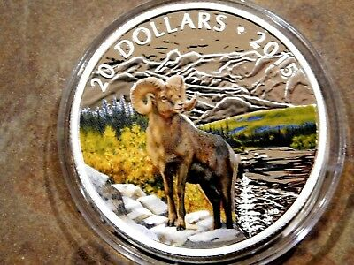"""2015 Proof Canadian $20 Fine Silver Coin Colorized """"Bighorn Sheep"""" .9999 Silver"""