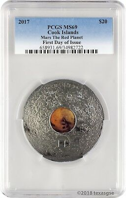 2017 $20 Cook Islands Mars The Red Planet 3 oz. Silver Coin PCGSMS69 FD