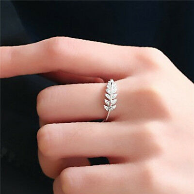 1PC Girls Simple Leaves Open Ring Women Finger Ring Fashion Jewelry LD