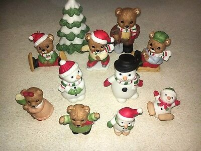 Vintage Homco Christmas Figurines And Ornaments (1980's) 11 Pieces Great Cond