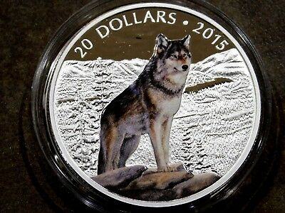 """2015 Proof Canadian $20 Fine Silver Coin Colorized """"Imposing Alpha Wolf"""" .9999"""