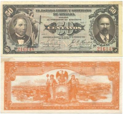 """1915 """"THE FREE & SOVEREIGN STATE of SINALOA"""" in MEXICO Crisp NEVER USED 50¢ NOTE"""