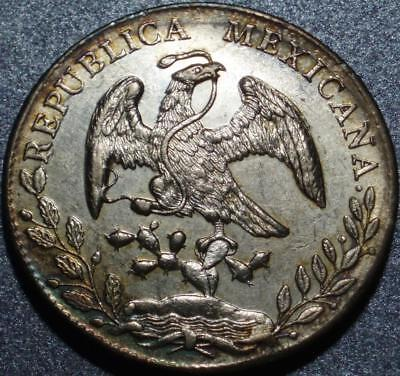 "1895 Mexico ALAMOS Sonora MINT Choice .903 Silver ""CAP & RAYS"" Eight or 8 REALES"