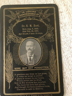 Vintage Funeral Card With Picture 1909